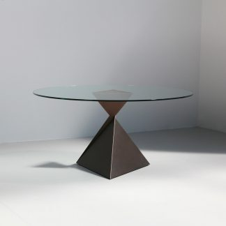 AVA round dining table with glass top | designer furniture by Tom Faulkner
