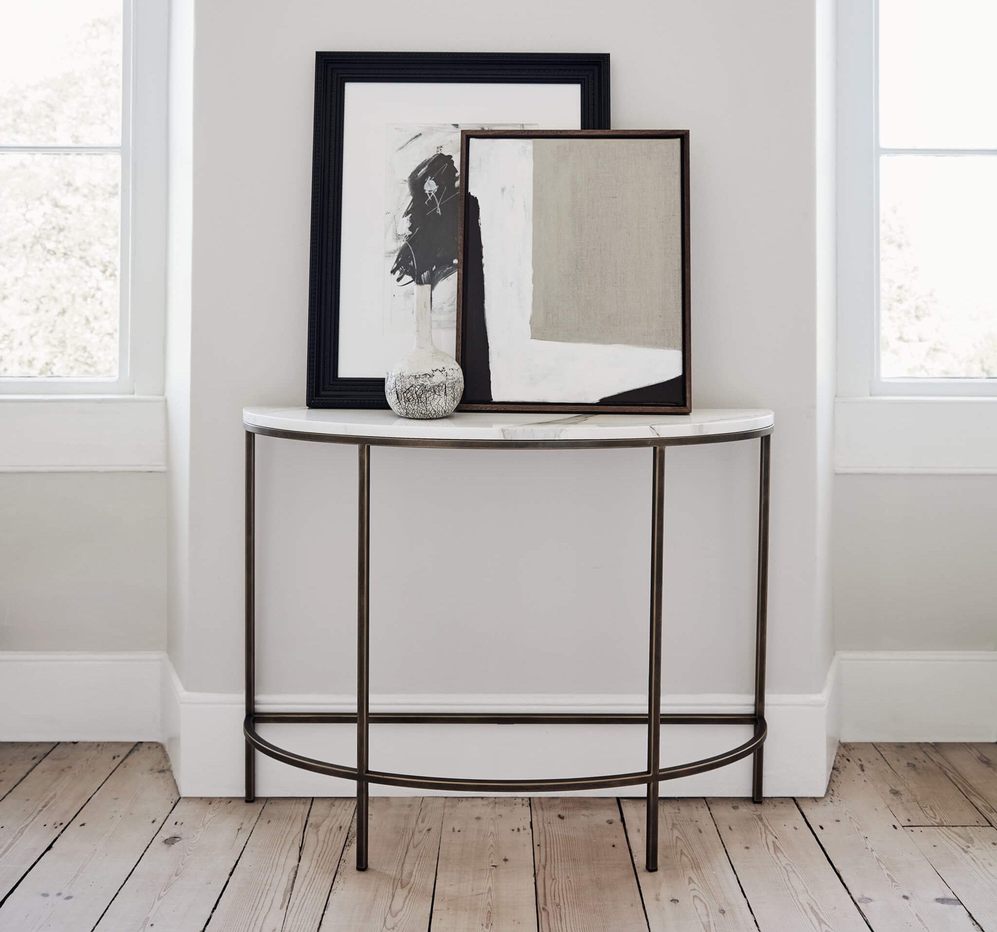 Madison Demi Lune console table | art work