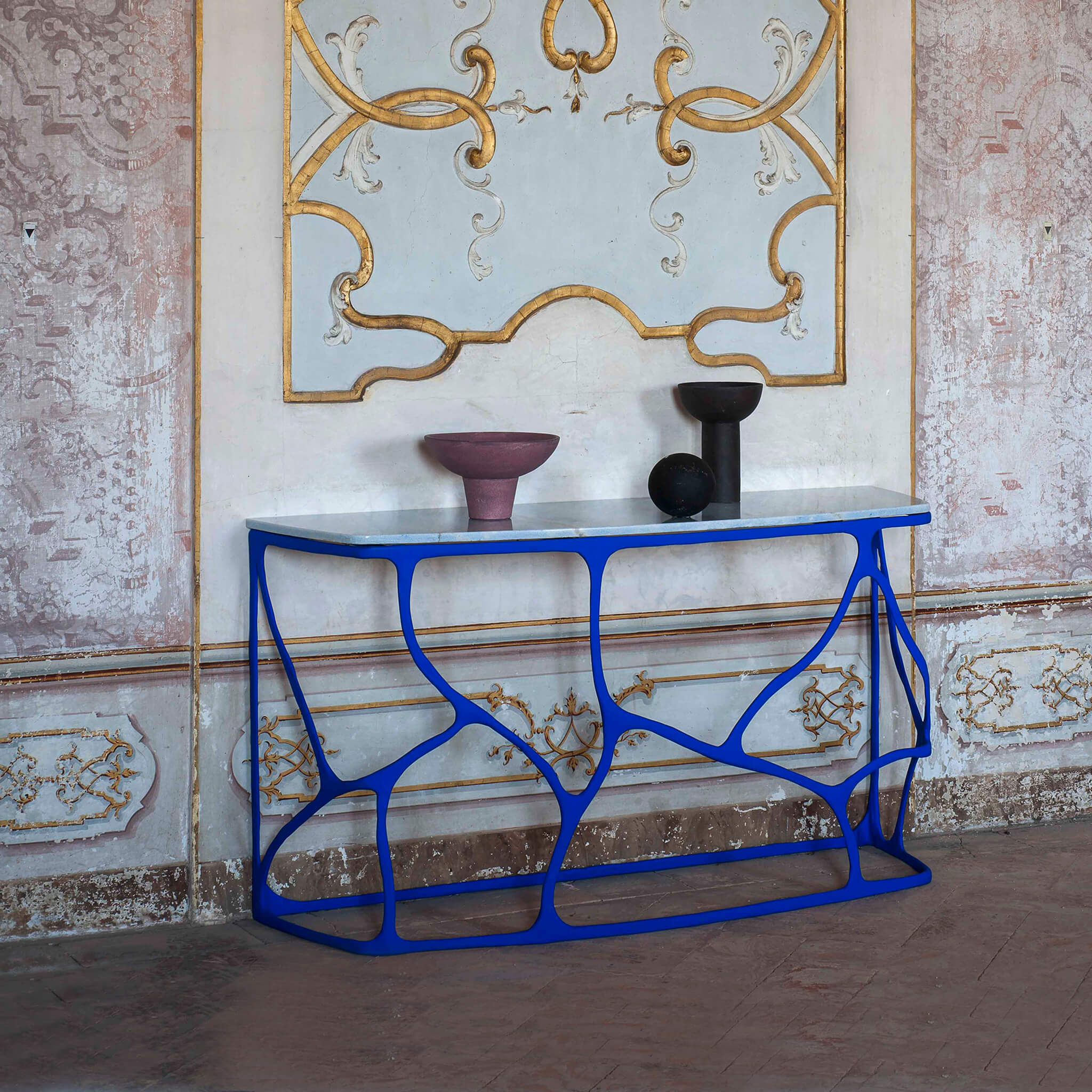 Boulder Console Table - in plaster & marble