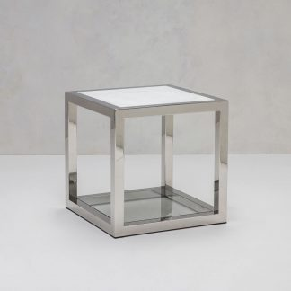 Square stainless steel side table