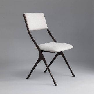 Bespoke Designer Dining Chair | Bronze finish with GP & J Baker Anola fabric in 'Dove Grey'